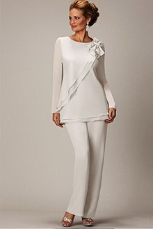 Pant Suits Jewel Ankle-length Chiffon Mother of the Bride Dress