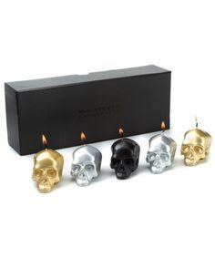 """D.L. Co. """"Memento Mori"""" Set of 5 Skull Candles"""