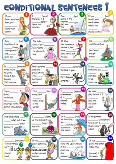 Conditional sentences - type 1 | FREE ESL worksheets; cut out as cards to use with tic tac toe (for example).