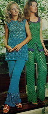 Bright clothes were still in in the 70s. Matching tops and bottoms as well as crochet are seen worn in this picture. loose big hair with curls and waves were also seen in women back then.