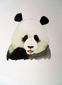 Original watercolor painting Panda portrait by maggiepp on Etsy