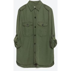 Zara Military Style Shirt (£35) ❤ liked on Polyvore featuring tops, khaki, shell tops, military fashion, shirts & tops, green top and khaki military shirt