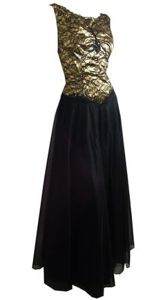 Rare 24 Gold Fabric, Black Lace and Chiffon Nightgown circa 1950s Vani - Dorothea's Closet Vintage