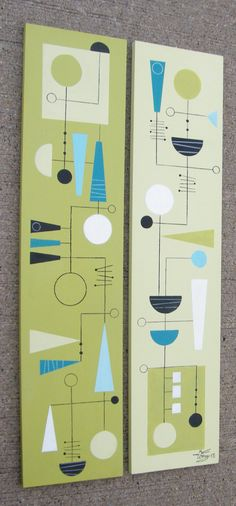 2 El Gato Gomez Paintings Retro Mid Century Modern Abstract Atomic Eames 1950s…