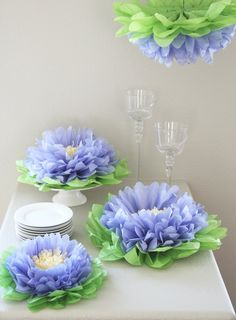 Purple Flower Pom Set