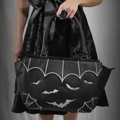 Bats Handbag by Banned Apparel in Black