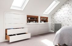 13 loft and attic storage ideas Drawers and shoe cupboards in loft storage bedroom Small Loft Bedroom, Bedroom Storage For Small Rooms, Attic Bedroom Designs, Cool Teen Bedrooms, Loft Room, Attic Rooms, Trendy Bedroom, Bedroom Rustic, Attic Master Bedroom
