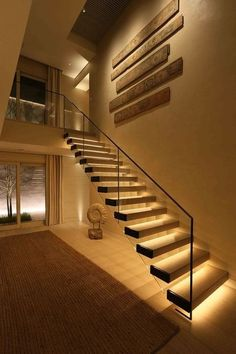 If we talk about the staircase design, it will be very interesting. One of the staircase design which is cool and awesome is a floating staircase. This kind of staircase is a unique staircase because Staircase Lighting Ideas, Stairway Lighting, Floating Staircase, Corridor Lighting, House Lighting, Hall Lighting, Accent Lighting, Strip Lighting, Floating Shelves