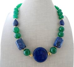 Lapis lazuli necklace green jade necklace chunky stone