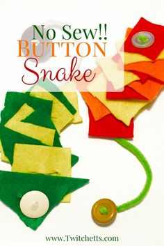 This no sew button snake is simple to create! A great sensory toy for toddlers to learn their buttoning skills. Works well as a busy bag item too.