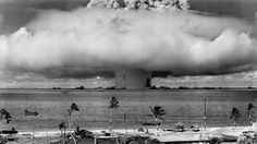 Tropic Fallout: a look back at the Bikini nuclear tests, 70 years later National Archives A colorized photo of the Baker detonation from Operation Crossroads. The underwater detonation rained down unanticipated fallout over a. Bomba Nuclear, Nuclear Bomb Test, Nuclear War, Nuclear Energy, Nuclear Apocalypse, Nuclear Reactor, Rare Historical Photos, Rare Photos, Ghost Towns
