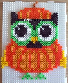 Pumpkin owl Halloween hama perler beads by Deco.Kdo.Nat