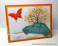 """This car """"moves"""" on the card.  Featuring """"Beautiful You"""" stamp set."""