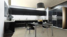 Cocina de apartamento, elegante, moderna y funcional.