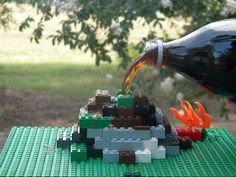 Exploding lego volcano with mentos and diet soda