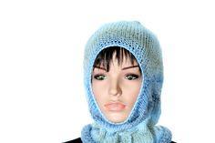 Knitted  Blue  Ski Mask Winter Balaclava Mask by ettygeller