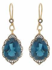 London Blue Topaz Arabesque Earrings designed by Cathy Waterman: London blue topaz teardrops framed in diamonds with blackened detailing set in 22 karat gold / Ylang