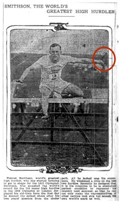 "To conclude our Olympic highlights, we bring you the story of Forrest Smithson and the 1908 London Olympics. In the red circle of the attached image, is a Bible that Forrest claims to have run with while competing in the 110m hurdles. However, according to scholar Mark Dyreson in his 1998 article ""Olympic Games and Historical Imagination,"" this story was constructed after the race in order to support ""Sabbatarian boycotts"" of sporting events."