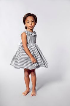 Flower Girls Dress in Grey and White Stripes by VesperClothier, $120.00