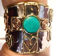 Tri-Color Cuff Bracelet Turquoise Cross and Heart Design < How gorgeous!