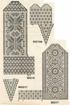 Żakardowe ciepłe skarpety) - Knitting - Home Moms Knitted Mittens Pattern, Knit Mittens, Knitted Gloves, Knitting Socks, Hand Knitting, Knitting Charts, Knitting Stitches, Knitting Patterns, Motif Fair Isle