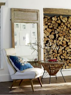 Love the chopped wood bookcase