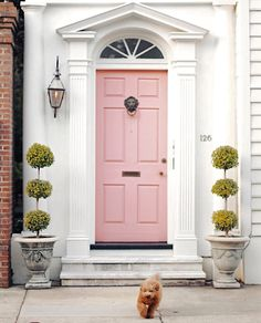 Com design living room, millenial pink, front door colors, fron Door Design, House Design, Design Living Room, Exterior Front Doors, Patio Doors, Exterior Paint, The Doors, Tuscan Decorating, Decorating Games