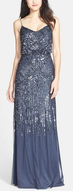 Midnight blue sparkle gown by Adrianna Papell