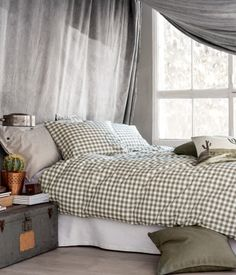 Lazy mornings! Duvet cover set in cotton with a printed pattern | H&M HOME