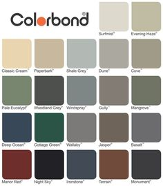 colorbond colours - surf mist for the weatherboard, maybe shale grey for the roof House Exterior Color Schemes, Interior Color Schemes, Grey Exterior, Exterior Cladding, House Paint Exterior, Colour Schemes, Exterior Colors, Colour Chart, Colourbond Colours