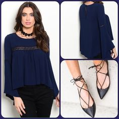 Navy Blue Bohemian Top This beautiful woven peasant top features long sleeves, a rounded neckline and crochet panel insert. 100% Polyester. (This closet does not trade or use PayPal) Lila Clothing Company  Tops Blouses