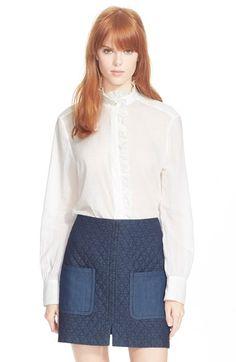 SEE BY CHLOÉ Ruffle Front Cotton Shirt. #seebychloé #cloth #