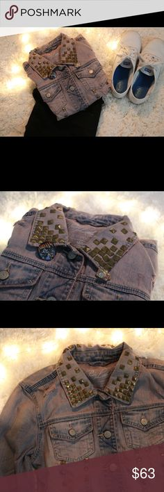 Pretty little liars (aria) jean jacket Pretty little liars exclusive purple jean jacket with gold studs inspired by Aria Montgomery Aeropostale Jackets & Coats Jean Jackets