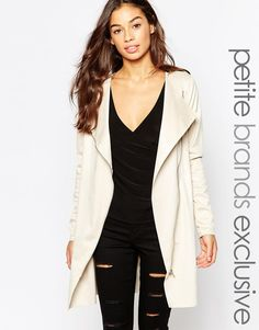 2ad5979cfba Noisy May Petite Suedette Longline Waterfall Jacket at asos.com