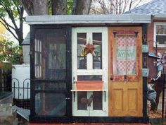 "Unique, repurposed hen house made from old doors! This is real ""out of the box"" thinking! #HenHouse www.FreeHenHousePlans.net"