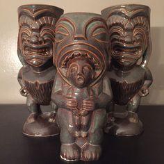 Hukilau 2014 event mug and two Ku mugs. All produced by Eekum Bookum Tiki Mugs.