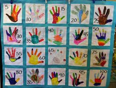 Class quilt to practice counting to 100s by 5s.