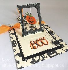 Karen Aicken gets the pumpkin rollin' on her Halloween projects: http://alteredscrapbooking.blogspot.com/2016/08/halloween-pull-tab-card-new-release.html. Karen Aicken created her card with the Karen Burniston's Hanging Charm Pull Tab, as well as Els van de Burgt Studio's Dotted Scallop Rectangles and Stitched Rectangles. She decorated her card with Karen Burniston's Halloween Scene, Halloween Charms, and the Steampunk Charms.