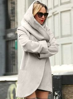 The coat is featuring hood, long sleeve, solid color, loose fit, irregular hemline and side pocket. Ladies Hooded Coats, Coats For Women, Wrap Cardigan, Sweater Cardigan, Down Winter Coats, Shorts Longs, Loose Fit, Mode Mantel, Cute Coats