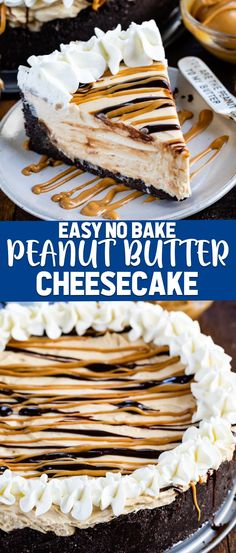 This EASY No Bake Peanut Butter Cheesecake is full of peanut butter flavor with an Oreo crust! It's a simple recipe with easy ingredients. It's an absolutely delicious cheesecake recipe! recipes no bake easy No Bake Peanut Butter Cheesecake Cheesecake Desserts, Chocolate Cheesecake, Mini Desserts, No Bake Desserts, Easy Desserts, Oreo Dessert, Oreo Crust Cheesecake, Chocolate Cake, Peanutbutter Cheesecake Recipes