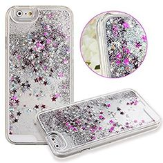 Amazon.com: Apple iPhone SE / 5 / 5s Liquid Glitter Flowing Waterfall Quicksand Diamond Fashion Water Bling Movable Sparkle Cute Girly Kawaii Stars Case Dynamic Back [Hard + Gel Cover] By Tech Express (Silver): Cell Phones & Accessories