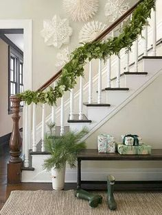 Large snowflakes are a classic touch to the live greenery.