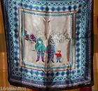 """1980s scarf of an Inuit Family in the Canadian Arctic. Light blue, 24""""x24"""" on eBay. #BayWatchApp"""