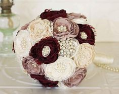 Fabric and Brooch Wedding Bouquet, Dusty Pink, Dark Burgundy, Ivory and Cream Satin, chiffon and Lace Bridal Bouquet