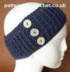 Free Crochet Pattern - EarWarmer Headband from Patterns For Crochet UK