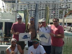 Great day!  2 catch&release sailfish, 2 dolphin and a big wahoo!  Excellent fishing in Fort Lauderdale today.  Let's go fishing! www.fishheadquarters.com #catchandrelease #sailfish #dolphin #wahoo #fishing