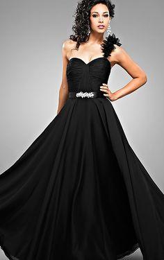 Bargain Sleeveless A-line Chiffon Floor-length One Shoulder Prom Dresses