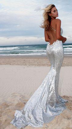 Silver Angel  backless prom/ formal dress by STUDIO MINC