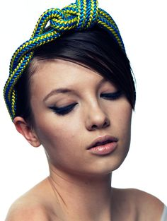 Digging this 'Fluoro Twisted Knotted Rope Headwrap' by Jennifer Behr, of course.