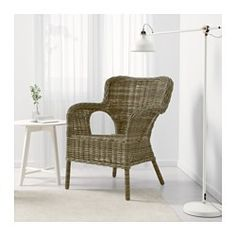 IKEA BYHOLMA armchair Furniture made of natural fibre is lightweight, yet sturdy and durable. Ikea Living Room Chairs, Living Room Grey, Living Room Furniture, Rattan Armchair, Wicker Chairs, Dining Chairs, Rocking Chair Ikea, Ikea Furniture, Furniture Making